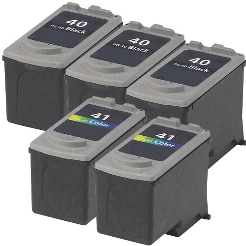 Canon PG-40 Black & CL-41 Color Replacement (5-pack) Ink Cartridges (3x Black, 2x Color) ZINK-Canon-PG-40-CL-41-Combo5